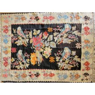Antique Hand Made Rug Or Tapestry With Birds