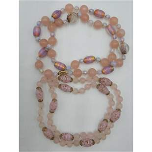 Lot Of 2 Vintage Chinese Quartz Necklace