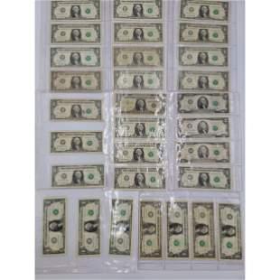 $62 Face Value 1 Dollar and 2 Dollar Bills STAR NOTES