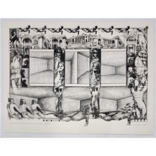 """1984 Signed Larry Wilson Lithograph """"ISOLATION CHAMBER"""""""