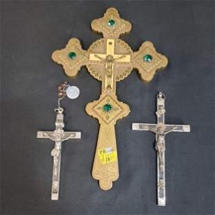 Lot Of 3 Antique Crucifix