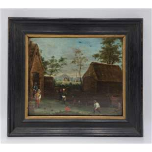 Oil On Panel Flemish Painting After David Teniers