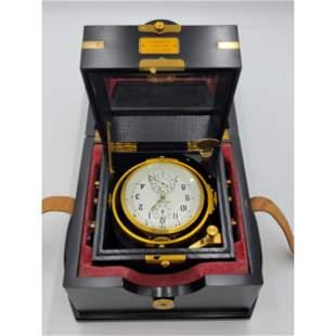 A Russian Ship Compass & Clock W/ Fusee Movement