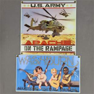 2 PORCELAIN SIGNS U.S ARMY & WASHBURN