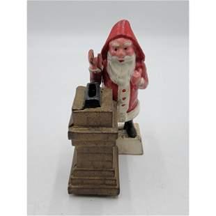 Painted Cast Iron Santa Claus Mechanical Bank