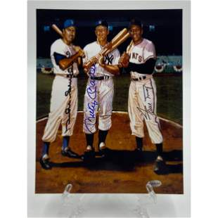 MLB Duke Snyder Willie Mays Mickey Mantle Autograph COA
