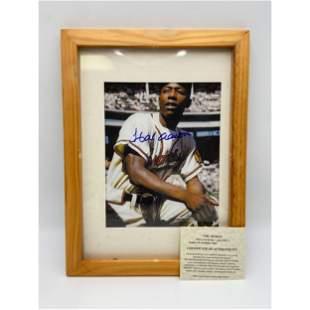 MLB Hank Aaron Autographed Framed Photo w/ COA
