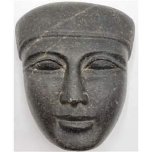 Ancient Egyptian Basalt Head Sculpture Ex Coliseum Anti