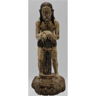 Early Amazing Spanish Colonial Carved Wooden Santos
