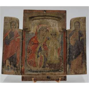 Antique Hand Painted Russian Icon On Wood 19th C