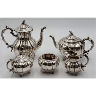 Heavy Hand-crafted Japanese Silver Tea Set 2881 Grams