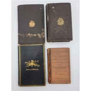 4 Important Antique Books, 1 signed Jonh Decker(NY FD)