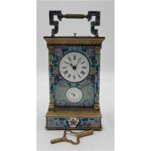 Vintage French Bronze Cloisonné Carriage Clock & Key