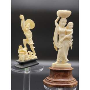 Lot Of 2 Carved Figures 1 Indian And 1 Japanese