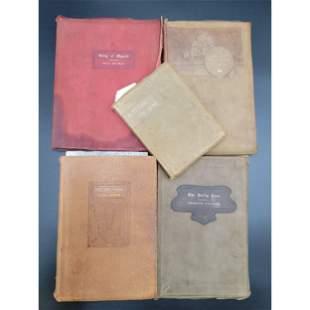 5 Books- Roycroft Soft Leather Cover Books 19th C