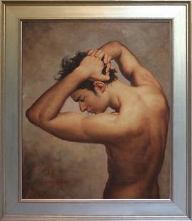 Academic Style Male Nude O/C Painting Signed Yaoge