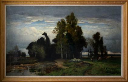 Jules Dupre 1811-1889 Barbizon Landscape Oil Painting