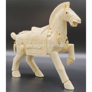 Vintage Carved Chinese Horse Sculpture Bovine Bone