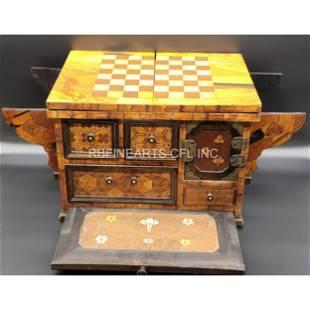 Edo Period Japanese Game Table Yosegi Zaiku Marquetry