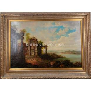 A Large Oil On Canvas Landscape Painting Signed 20 C