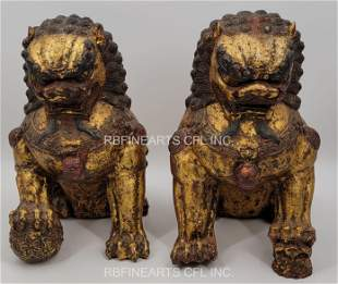 Pr Of Ming Dynasty Gilt Bronze Fu Guardian Lions 17 C