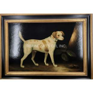 Oil On Canvas Dog Painting Signed John Gray