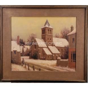 Oil On Canvas Snow Landscape Ronald Greg B 1929