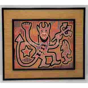 Old South American Mola Embroidered Panel THE DEVIL