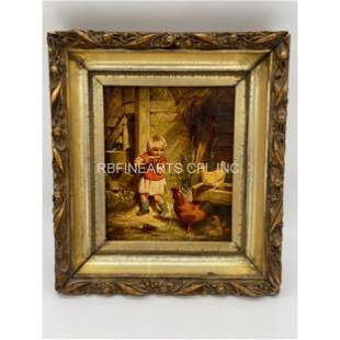 Vintage O/C Painting Of A Child Eating With Barn Animal