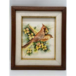 Antique 1941 Painting On Tile Of Birds Signed And Dated