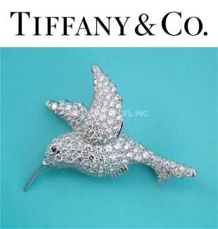 Tiffany & Co. Hummingbird Pavé Diamond Platinum Brooch