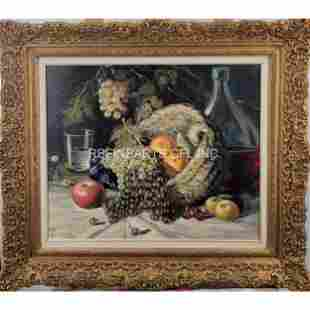 A Fine Vintage Still Life Painting Signed CORTES