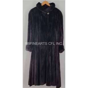 Vintage Full Length Natural Black Mink Coat USA