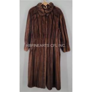 Vintage Full Length Mahogany Mink Coat Denmark