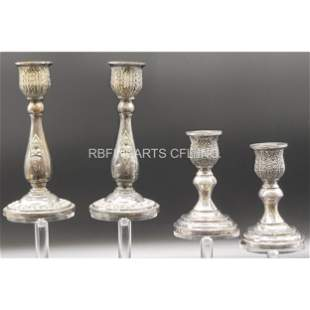 A Grouping Of Sterling Silver Candle Holders Thailand