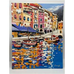"""Luigi Fumagalli 20th C O/C Painting """"PORTOFINO"""""""
