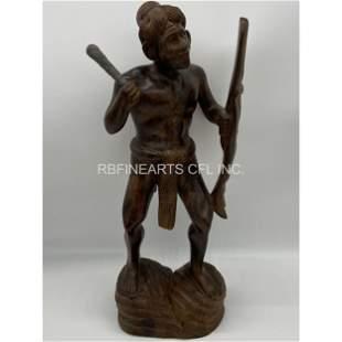 Lg Vintage Wood Carved Native American Warrior
