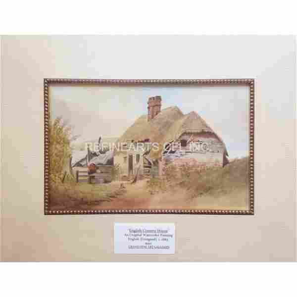 """Antique Watercolor Painting """"English Country House"""" 188"""