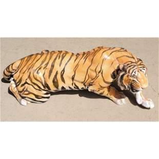 Lg Vintage Italian Faience Pottery Tiger