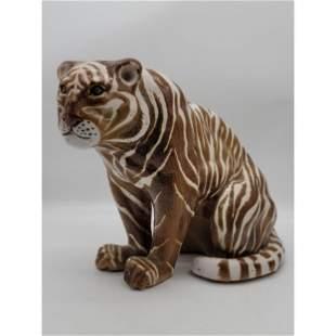 Vintage Italian Faience Pottery Tiger