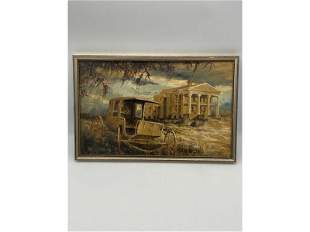 20th C Signed Tom Keyes Oil On Board Painting