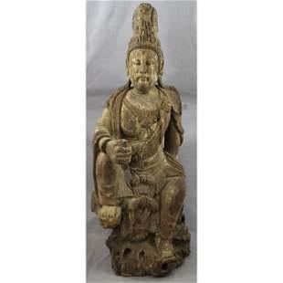 A Large Chinese Polychrome On Wood Ming Buddha Kwan Yin