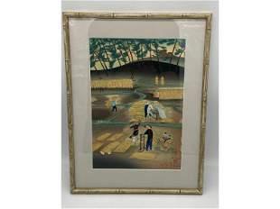 Bakufu Ohno (1888-1976) Rice Farmers Woodblock In Color