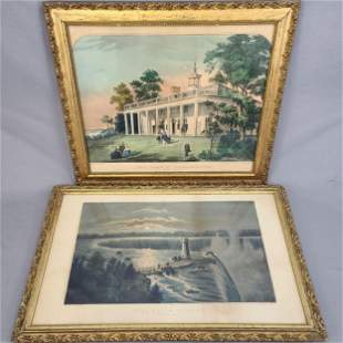 Lot of 2 Antique Currier & Ives in Period Frames