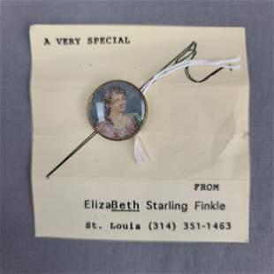 A Miniature Victorian Button Portrait Ca 1895