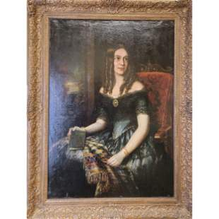 American School Oil Painting LADY W/ A BOOK 19th C