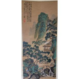 Vintage Chinese Watercolor Scroll Painting Signed