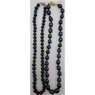 2 Strings Of Natural Tahitian Pearl Necklace Peacock Co