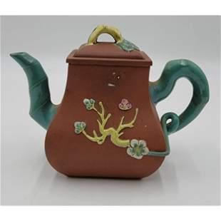 A Fine Chinese Enamel Yixing Teapot Zisha Teapot