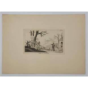 18Th C Revolutionary War Engraving Battle Of Lexington